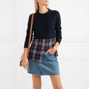 Veronica Beard Garrett Merino Wool Checked Sweater